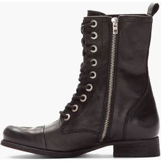 1a5fa2ce DIESEL Black Leather Arthik Combat Boots ($320) ❤ liked on Polyvore  Clothing Items,