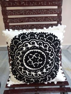 Suzani Decorative Throw Pillows Pom Pom Cushion Cover Black & White Pillow Shams #DVK #Turkish