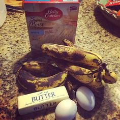 Banana bread recipe. I think I would use a spice cake mix. Melt the butter. Cook at 350 for 45 min.