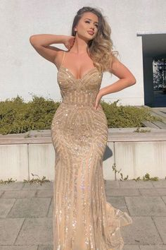 Gold evening dresses - Sheath Spaghetti Straps Sweep Train Champagne Tulle Prom Dress with Beading – Gold evening dresses Gold Evening Dresses, Gold Prom Dresses, Tulle Prom Dress, Mermaid Dresses, Ball Dresses, Party Dresses, Nude Sparkly Dresses, Champagne Prom Dresses, Senior Prom Dresses