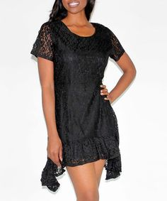 Look what I found on #zulily! Black Lace Sidetail Dress by Design 26 #zulilyfinds