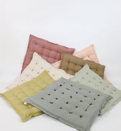 Linen Handtack Cushion  variety of colors by ColetteBream on Etsy, $54.00