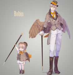 """Hetalia characters as birds: Arthur (both child and adult versions) as a robin - Art by えのきんぐ (Note: the English robin is VERY different from the North American robin in appearance!)"""