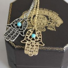 Hamsa Hands Lucky Necklace Pendant BRAND NEW & PACKAGED. Orders are shipped the SAME DAY. Comes with both silver and gold necklaces Jewelry Necklaces