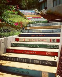 Home decor ideas for all the book lovers yes please! The incredible staircase of knowledge is located at the University of Balamland Lebanon. Have you ready any of these books? This amazing photo was taken by Book Stairs, Epic Of Gilgamesh, Stairway To Heaven, Ubud, Public Art, Stairways, Book Lovers, My House, The Good Place