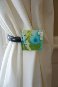 Curtain Tie Back Created Using Marbelized Paper Under A Gl Tile Retro And Modern