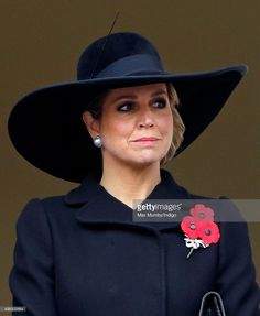 Queen Maxima of the Netherlands attends the annual Remembrance Sunday Service at the Cenotaph on Whitehall on November 8, 2015 in London, England.  Royal Hats:  Designer:  Fabienne Delvigne