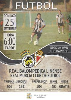 Cartel fútbol. Real Balompédica Linense vs Murcia Cf.