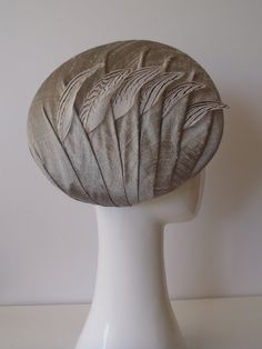 Pewter Beret.  Women's classic draped beret hat in pewter / silver silk and silver pheasant feathers.