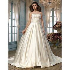 A-line Princess Jewel Chapel Train Satin and Tulle Wedding Dress (518999) – USD $ 249.99