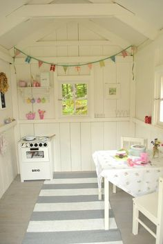 Our play house Playhouse Decor, Playhouse Interior, Backyard Playhouse, Build A Playhouse, Wooden Playhouse, Playhouse Ideas, Kids Cubby Houses, Play Houses, Kids Shed