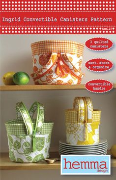 Ingrid Convertible Canisters Pattern Front Cover by Hemma Designs