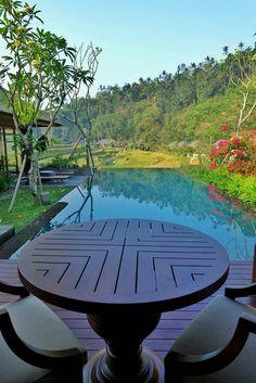 The view from villa to the rice paddies at Mandapa, A Ritz-Carlton Reserve Ubud.