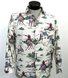 Western Cowboy Shirt M Vtg Rockabilly VLV Bronc Busting Horses Cactus Iconic