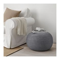 IKEA SANDARED pouffe The cover is easy-care since it can be removed and machine washed. Pouf Bleu, Mousse Polyuréthane, Fabric Ottoman, Pouf Ottoman, Dining Chair Slipcovers, Chair Cushions, Ikea Furniture, Dark Furniture, Gray