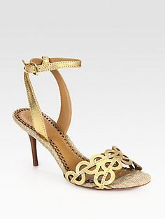 Tory Burch Aileen Metallic Leather Ankle Strap Sandals