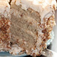 Banana cake w/praline filling and white chocolate ganache