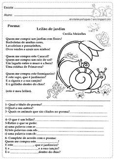 Interpretação de texto poema para o 1° ano do ensino fundamental