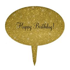 Happy birthday gold glitter stars cake toppers