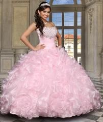 House of Wu Quinceanera Dress Style Number 26813 is made for Sweet 15 girls who want to look like a beautiful Princess on her special day. For a night of celebration, choose this modern two-piece gown with a long ruffled train and removable crystal organza ball gown skirt revealing a short and fun pencil skirt. Zipper back. These dresses can also be worn for Prom, Sweet 16, or for any formal occasion! Colors: Mint Green, Royal Blue, Rose Pink, Champagne, Sparkle White Please allow 16 - 18…