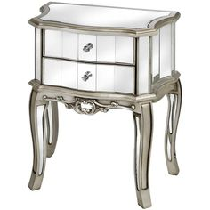 Argente Mirrored Two Drawer Bedside Table - White intimacy