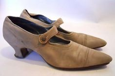 Fawn Suede Winklepicker Mary Jane Shoes circa Early 1900s - Dorothea's Closet Vintage