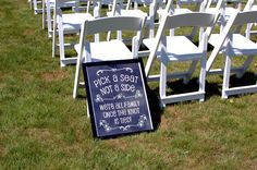 #chalkboard #pues #ceremony #weddingideas #pickaseatnotaside #family