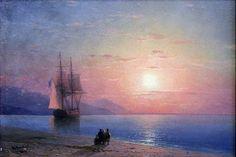 """Sunset at Sea."""" Deutsch: Meereslandschaft Русский: Закат у моря Date1864"""