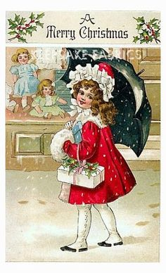 A Merry Christmas Girl Strolls Fabric Block