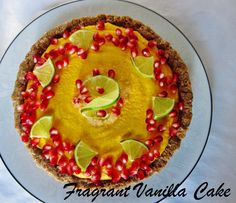 Raw Sweet Potato Ginger Lime Tart with Pomegranate Seeds from Fragrant Vanilla Cake, new blog and recipe(s) found at http://www.fragrantvanillacake.com