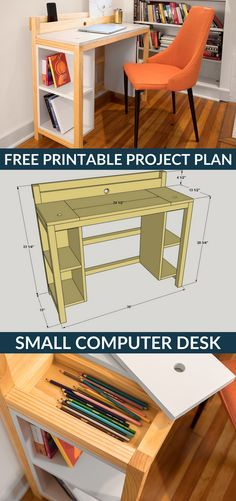 How to build a DIY Small Computer Desk   Free printable project plans on buildsomething.com   This project proves that a desk doesn't have to be big or bulky to offer lots of work and storage space. From storage trays under the desktop to the built-in tray at the back for charging devices to shelves underneath, it's packed with clever features that prove good things come in small packages.