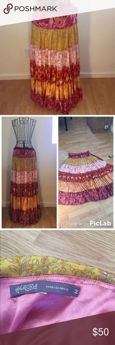 Hale Bob Full Skirt 100% silk multi-colored skirt by Hale Bob. Very full as shown in pictures. Thick corded tie that wraps around waist. Complimentary prints and patterns in shades of red, orange and pink. Gently worn in perfect condition. Size Medium. Hale Bob Skirts Maxi
