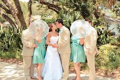 Bridesmaids with parasols - looks great in photos!