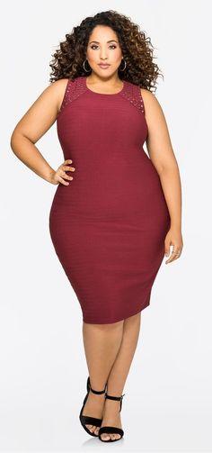 Plus Size Back Cut-Out Stud Shoulder Dress