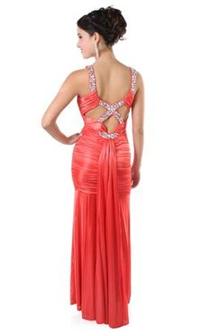 long prom dress with mermaid skirt and window back accented by stones 92.50