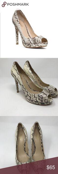 "Coach Selma Python peep toe sandal heels Excellent condition. Python skin peep toe heels. Heel4.5"" and 0.5"" platform . Coach Shoes Heels"