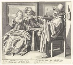 Cornelis van Kittensteyn | Auditus / Het Gehoor, Cornelis van Kittensteyn, Claes Jansz. Visscher (II), 1620 - 1652 | In een interieur zit een elegant paar aan tafel bij een vioolspeler uit een muziekboek te zingen. Ze dragen kleding volgens de mode van ca. 1620. De dame draagt een japon met strikken en een zeer wijde uitstaande kraag. Aan de muur achter het paar hangen twee schilderijen. Onder de afbeelding twee kolommen met Latijnse tekst. De prent maakt deel uit van een serie met prenten…