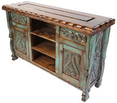 Mexican Furniture for Rustic Home Decor mexican furniture green patina painted wood carved floral buffet with scalloped edge top. Italian Bedroom Furniture, Mexican Furniture, Ikea Furniture, Rustic Furniture, Painted Furniture, Modern Furniture, Furniture Design, Painted Wood, Furniture Ideas