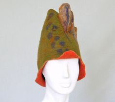 Winter Hat  Headdress  Crazy Felted Hat  by FeltHappiness on Etsy, £45.00