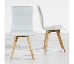 Dieser Artikel ist NUR ONLINE erhältlich! Dieser trendige Stuhl punktet mit reduziertem Design und attraktiver Optik. Die edle Farbgebung in Weiß bringt gute Laune in Ihr Zuhause. Der ca. 43 x 88 x 53,5 cm (B x H x T) große Stuhl mit einem Bezug im Lederlook und Füßen aus Kautschukholz in Natur eignet sich für verschiedene Wohnbereiche und bietet Ihnen ein komfortables Sitzgefühl. Ein Stuhl mit Stil!