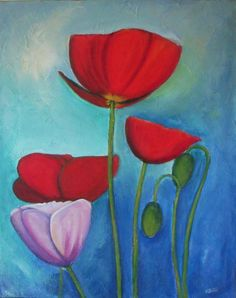 Red Poppies Original textured abstract painting by VESNAsART, $100.00