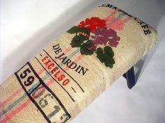 RePurposed DeJardin Coffee Bag Bench by bDagitzFurniture on Etsy, $225.00