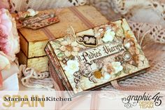 A Ladies' Diary Deluxe Collection are the selected Graphic 45 papers to make this lovely work. Graphic 45 A Ladies' Diary Deluxe Collection x pad. Scrapbooking, Mini Scrapbook Albums, Book Crafts, Paper Crafts, Decoupage, Mini Album Tutorial, Mini Photo, Graphic 45, Card Tags