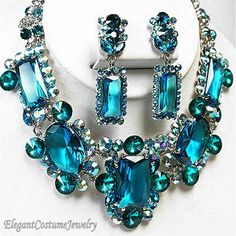 Statement Malibu Turquoise Blue Chunky Crystal Necklace Set Chunky & Elegant Costume Jewelry