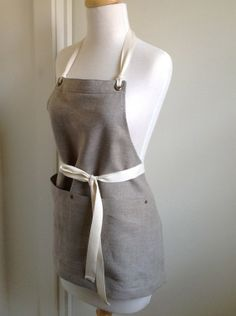 Full  Apron - European Linen Apron - Short - Cook - Caterer