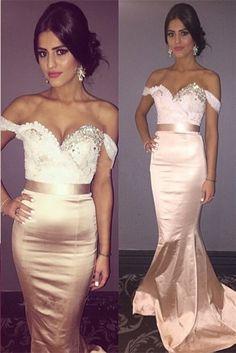 Long prom Dress,rose gold Prom Dress,Mermaid prom dress,2017 prom dresses,evening dress Newest Beadings Mermaid 2017 Prom Dress Sweep Train Off-the-shoulder