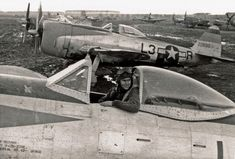 """Republic P-47D-27RE, s/n 42-26860, L-3O """"Angie"""", pilot  Lt William A. Cunningham, in background P-47D, s/n 42-28918, 512th FS, 406th FG,  January/ February 1945"""