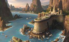 Harbor by Donghee Han : ImaginaryLandscapes Fantasy City, Fantasy Castle, Fantasy Map, Fantasy Places, High Fantasy, Medieval Fantasy, Fantasy World, Fantasy Art Landscapes, Fantasy Landscape