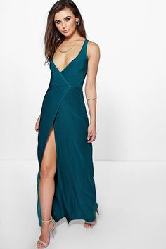Petite Mia Wrap Sleeveless Maxi Dress