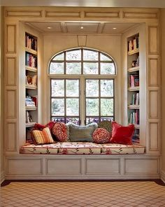 Window seat library. I have saved some books from my childhood that I loved,as well as books each of my kids loved me to read to them. I would love this spot for grand kids one day.
